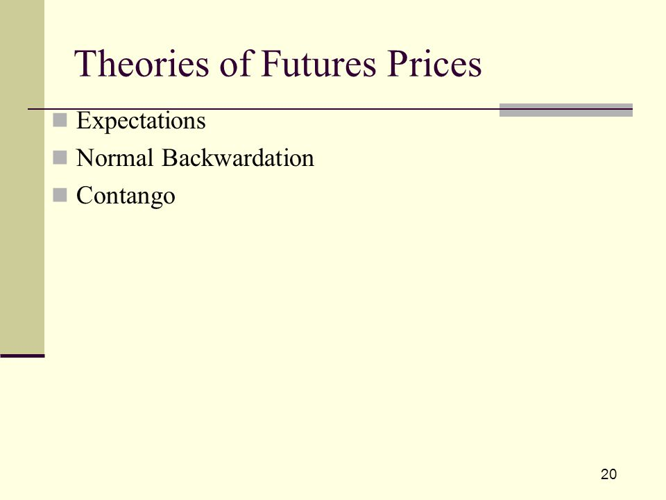 20 Theories of Futures Prices Expectations Normal Backwardation Contango