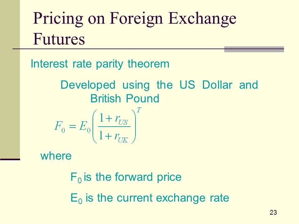 23 Interest rate parity theorem Developed using the US Dollar and British Pound where F 0 is the forward price E 0 is the current exchange rate Pricing on Foreign Exchange Futures