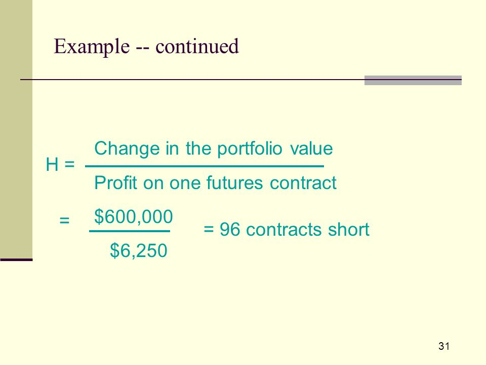 31 Example -- continued H = = Change in the portfolio value Profit on one futures contract $600,000 $6,250 = 96 contracts short