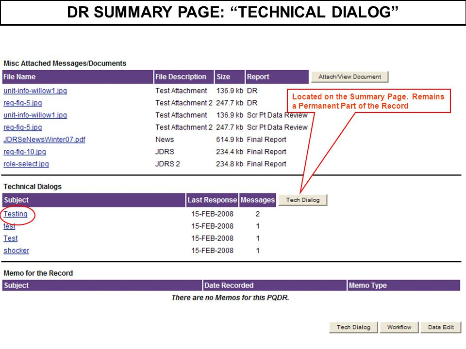 """DR SUMMARY PAGE: """"TECHNICAL DIALOG"""" Located on the Summary Page. Remains a Permanent Part of the Record"""