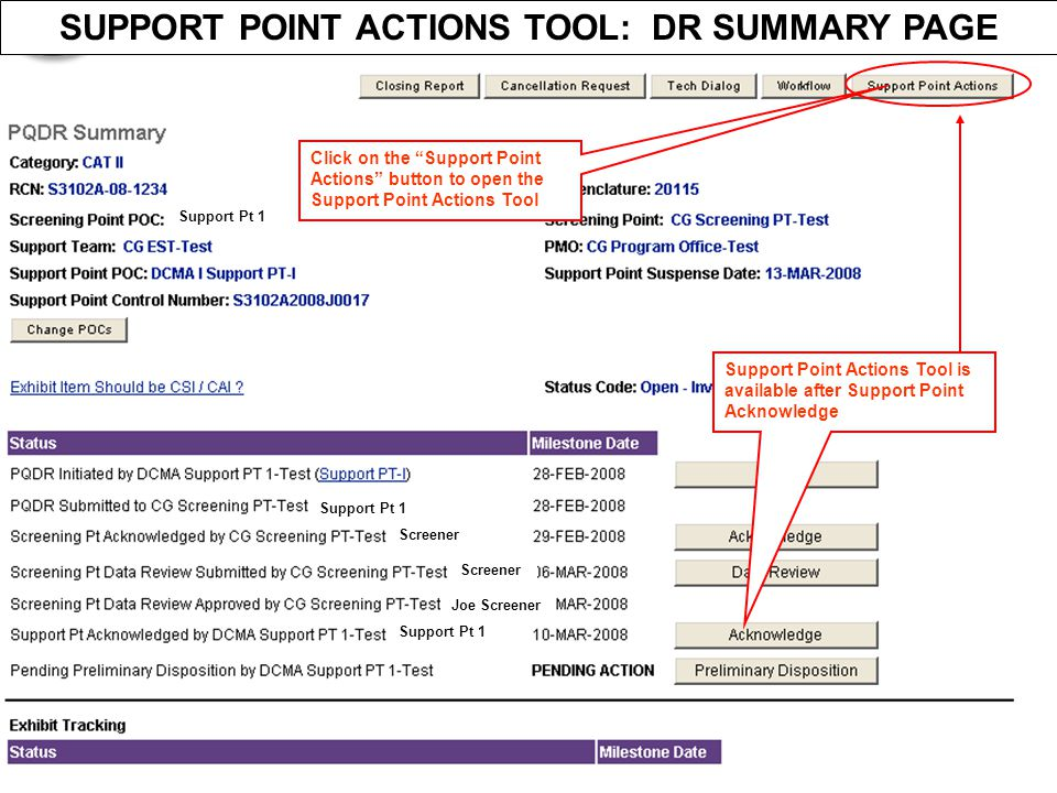 """Screener Joe Screener Screener Support Pt 1 SUPPORT POINT ACTIONS TOOL: DR SUMMARY PAGE Click on the """"Support Point Actions"""" button to open the Suppor"""