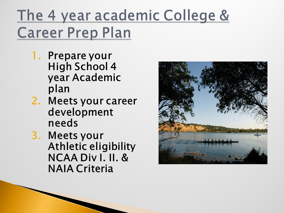 1.Prepare your High School 4 year Academic plan 2.Meets your career development needs 3.Meets your Athletic eligibility NCAA Div I.