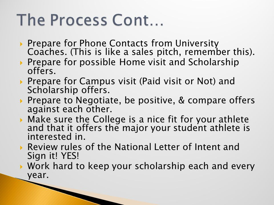  Prepare for Phone Contacts from University Coaches.