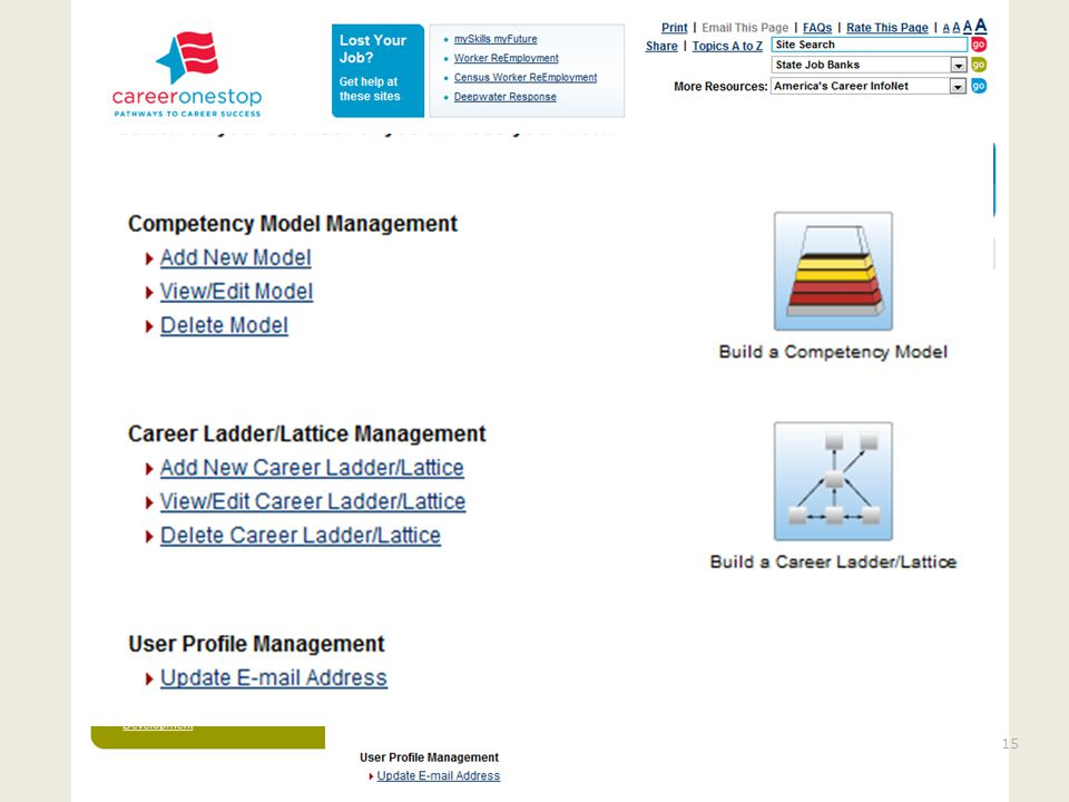 Create a CMC Account http://www.careeronestop.org/competency model/careerpathway/cpwoverview.aspx Create an Account Login Click on Add a New Model For more information visit us at: http://businessengagement.workforce3one.orghttp://businessengagement.workforce3one.org16