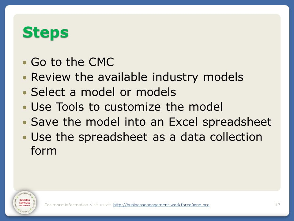 Steps Go to the CMC Review the available industry models Select a model or models Use Tools to customize the model Save the model into an Excel spread