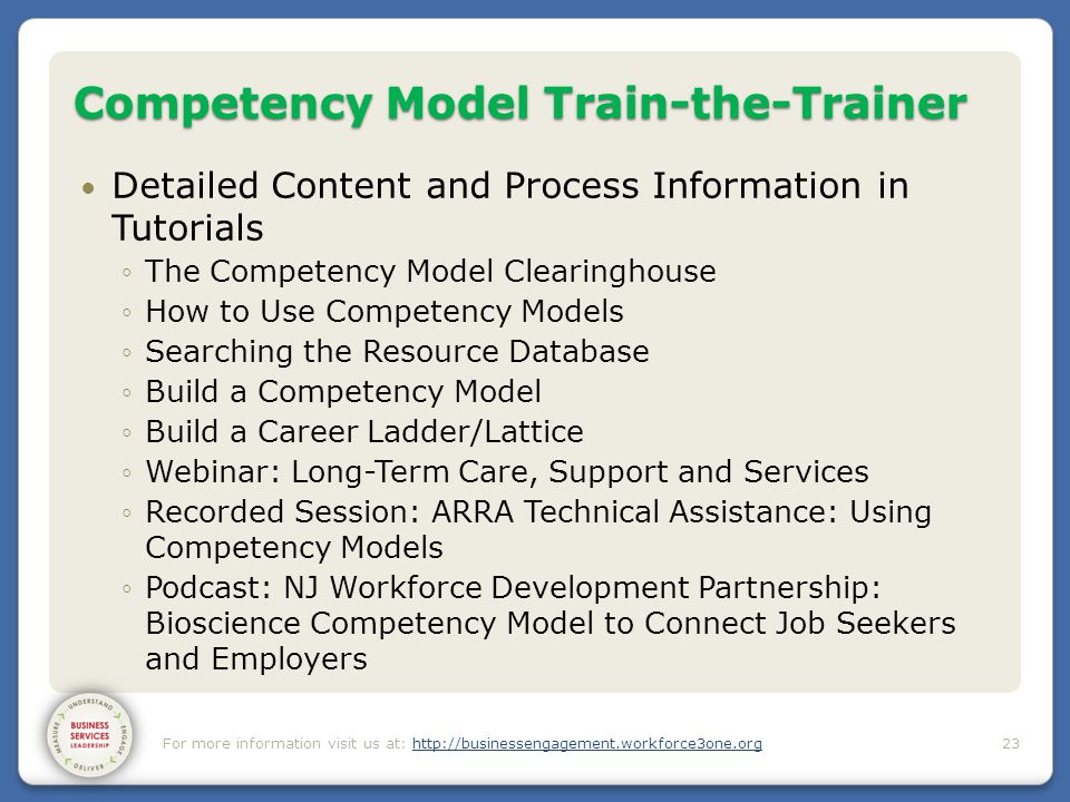 Competency Model Train-the-Trainer Detailed Content and Process Information in Tutorials ◦The Competency Model Clearinghouse ◦How to Use Competency Mo
