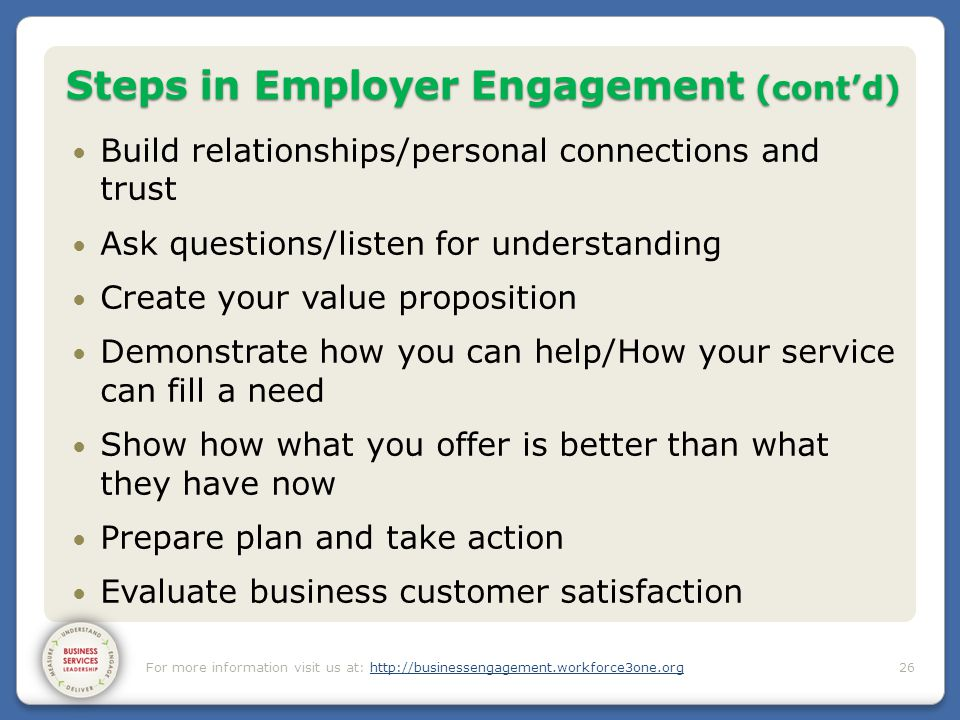 Steps in Employer Engagement (cont'd) Build relationships/personal connections and trust Ask questions/listen for understanding Create your value prop