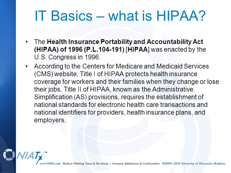 IT Basics – what is HIPAA.