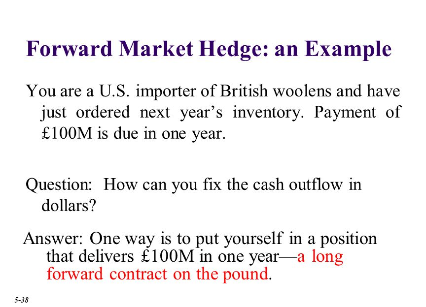 Forward Market Hedge: an Example You are a U.S.
