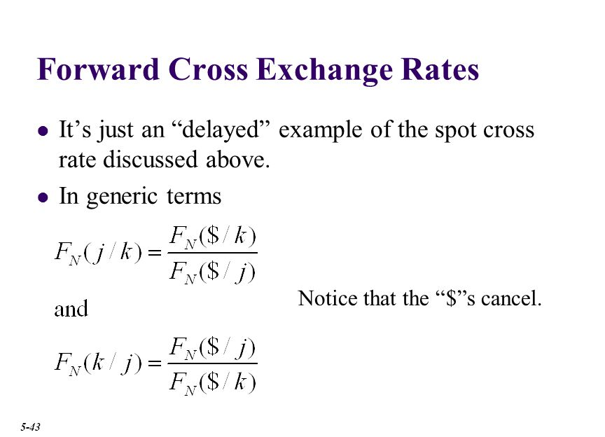 Forward Cross Exchange Rates It's just an delayed example of the spot cross rate discussed above.