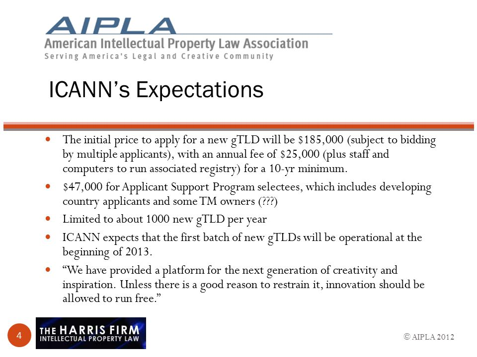 ICANN's Expectations The initial price to apply for a new gTLD will be $185,000 (subject to bidding by multiple applicants), with an annual fee of $25,000 (plus staff and computers to run associated registry) for a 10-yr minimum.