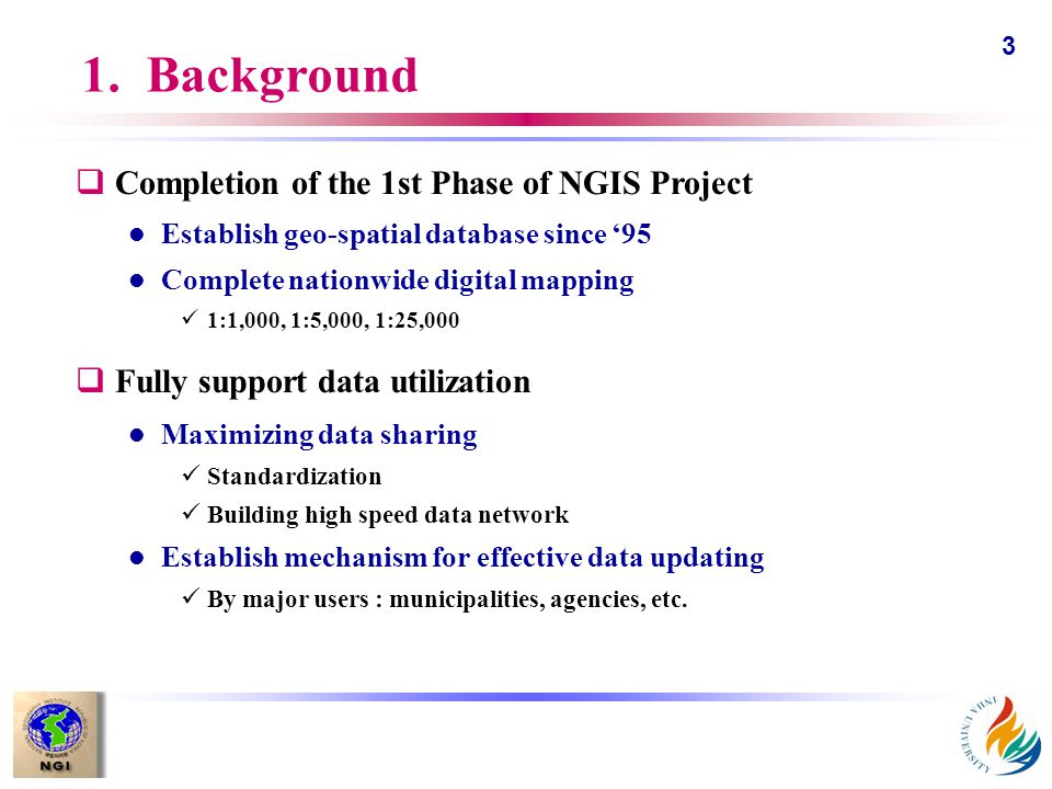 3 1. Background qCompletion of the 1st Phase of NGIS Project l Establish geo-spatial database since '95 l Complete nationwide digital mapping 1:1,000,