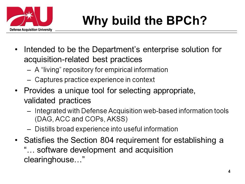 4 Why build the BPCh.