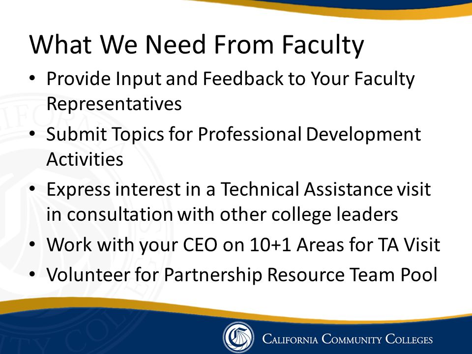 What We Need From Faculty Provide Input and Feedback to Your Faculty Representatives Submit Topics for Professional Development Activities Express int