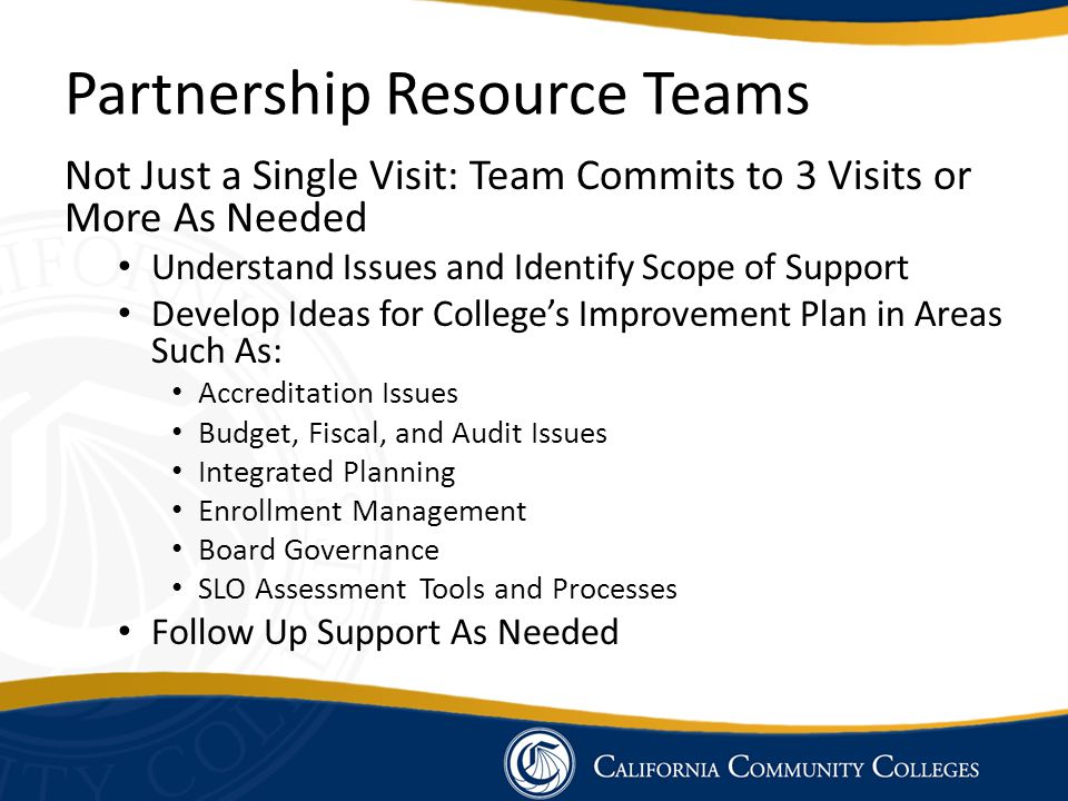 Partnership Resource Teams Not Just a Single Visit: Team Commits to 3 Visits or More As Needed Understand Issues and Identify Scope of Support Develop
