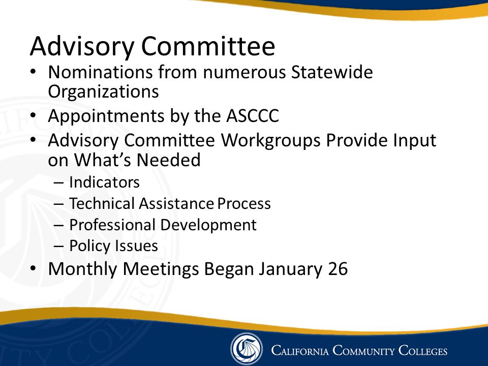Advisory Committee Nominations from numerous Statewide Organizations Appointments by the ASCCC Advisory Committee Workgroups Provide Input on What's N