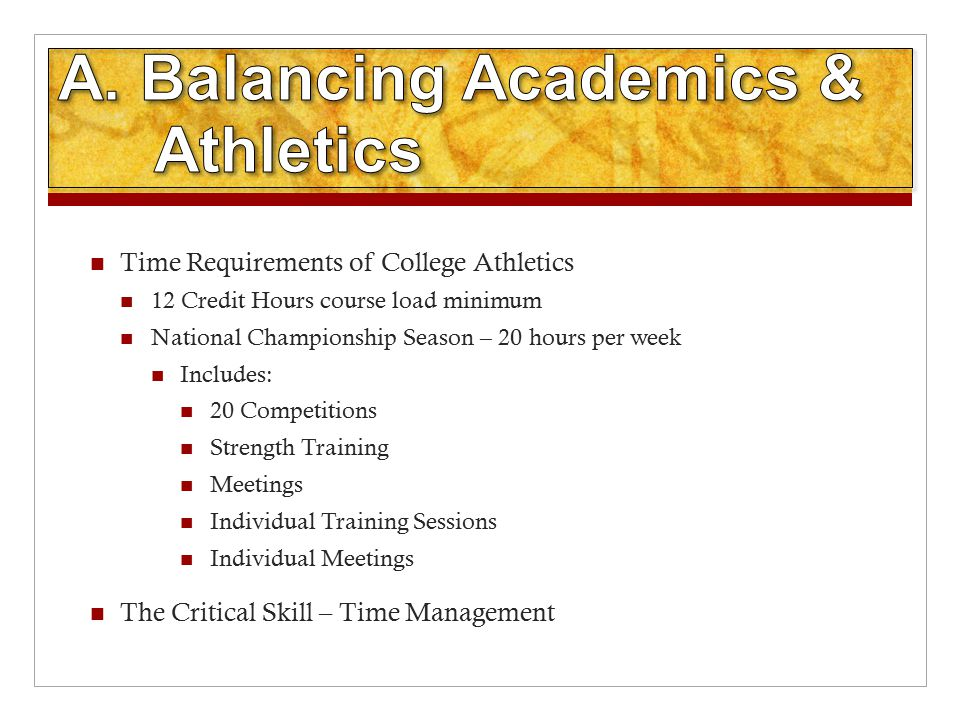 Time Requirements of College Athletics 12 Credit Hours course load minimum National Championship Season – 20 hours per week Includes: 20 Competitions Strength Training Meetings Individual Training Sessions Individual Meetings The Critical Skill – Time Management