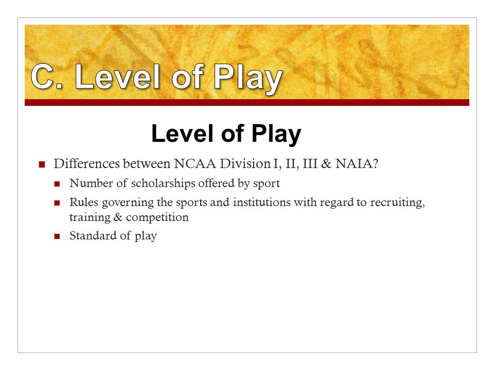 Differences between NCAA Division I, II, III & NAIA.