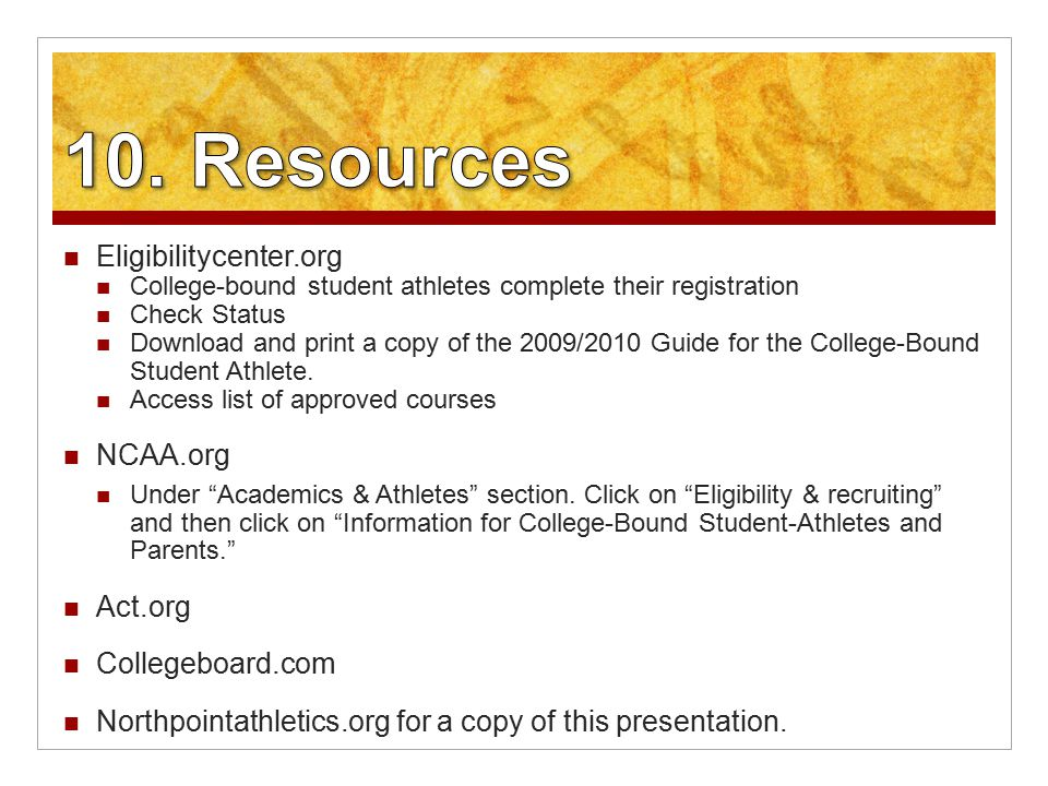 Eligibilitycenter.org College-bound student athletes complete their registration Check Status Download and print a copy of the 2009/2010 Guide for the College-Bound Student Athlete.