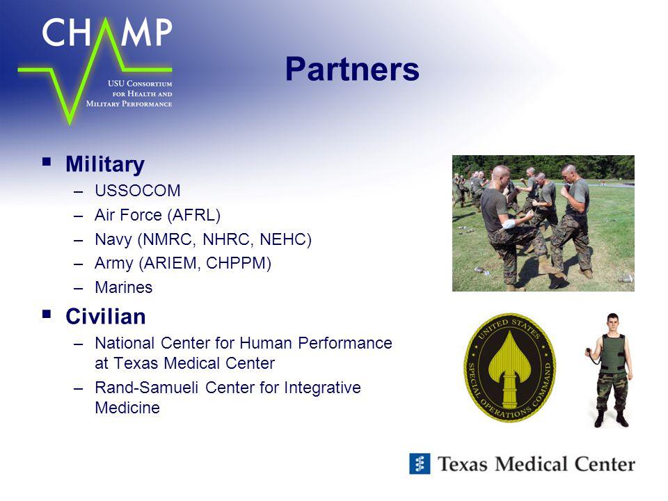 Partners  Military –USSOCOM –Air Force (AFRL) –Navy (NMRC, NHRC, NEHC) –Army (ARIEM, CHPPM) –Marines  Civilian –National Center for Human Performanc