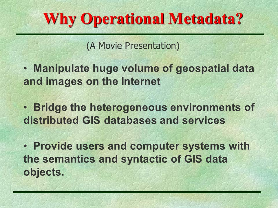 Why Operational Metadata.