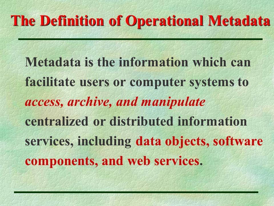 The Definition of Operational Metadata Metadata is the information which can facilitate users or computer systems to access, archive, and manipulate centralized or distributed information services, including data objects, software components, and web services.