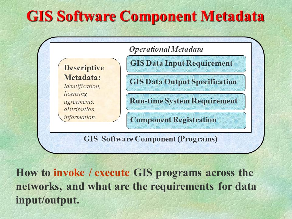 GIS Software Component Metadata GIS Software Component (Programs) Operational Metadata GIS Data Input Requirement GIS Data Output Specification Descriptive Metadata: Identification, licensing agreements, distribution information.