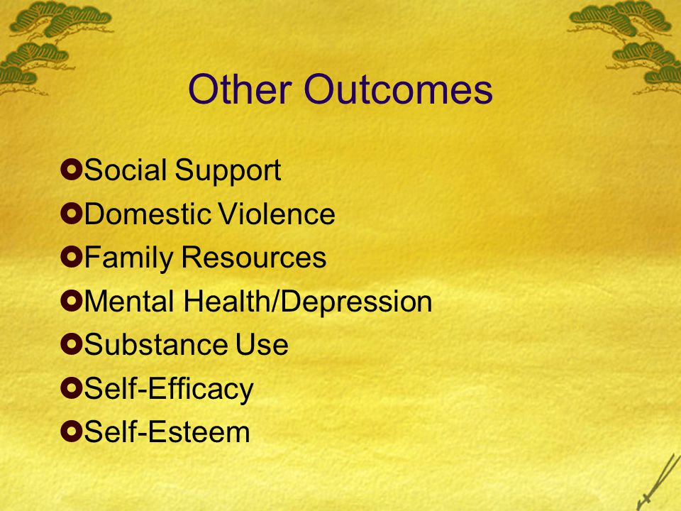 Other Outcomes  Social Support  Domestic Violence  Family Resources  Mental Health/Depression  Substance Use  Self-Efficacy  Self-Esteem