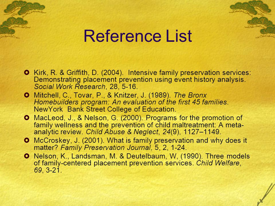 Reference List  Kirk, R. & Griffith, D. (2004).