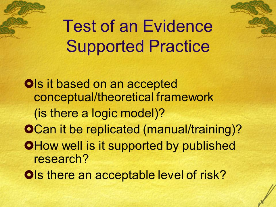 Test of an Evidence Supported Practice  Is it based on an accepted conceptual/theoretical framework (is there a logic model).