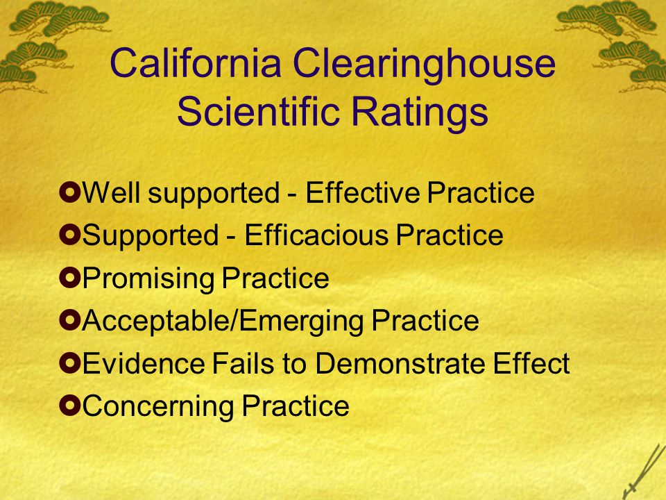 California Clearinghouse Scientific Ratings  Well supported - Effective Practice  Supported - Efficacious Practice  Promising Practice  Acceptable/Emerging Practice  Evidence Fails to Demonstrate Effect  Concerning Practice