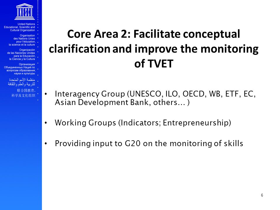 7 Core Area 3: Act as a clearinghouse and inform the global TVET debate UNESCO-UNEVOC: information resources Third International Congress on TVET State-of-the-art publication on World Trends and Issues in TVET as an input to the Congress on TVET