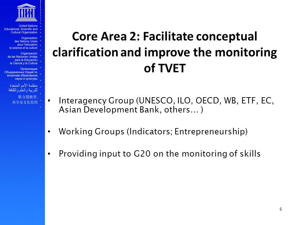 6 Core Area 2: Facilitate conceptual clarification and improve the monitoring of TVET Interagency Group (UNESCO, ILO, OECD, WB, ETF, EC, Asian Develop