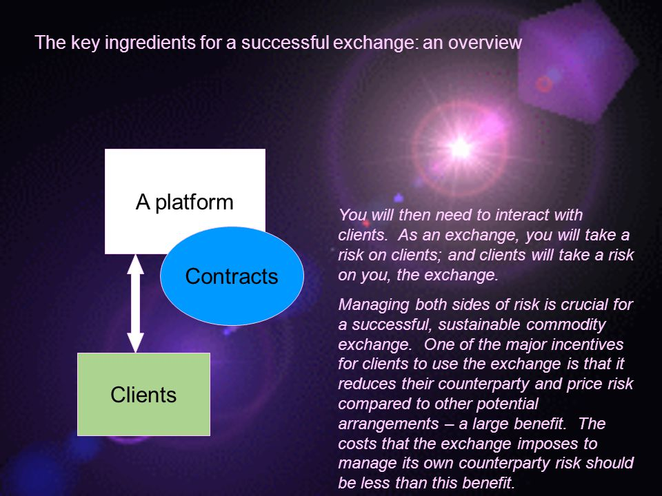 The key ingredients for a successful exchange: an overview A platform You will then need to interact with clients.