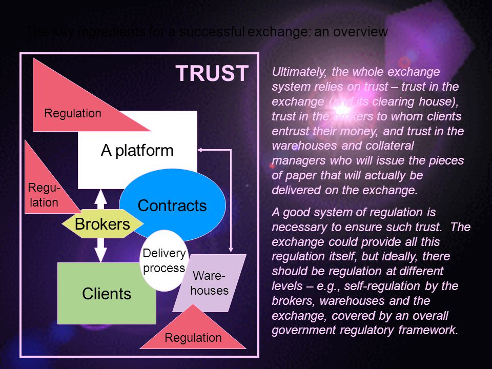 The key ingredients for a successful exchange: an overview A platform Ultimately, the whole exchange system relies on trust – trust in the exchange (and its clearing house), trust in the brokers to whom clients entrust their money, and trust in the warehouses and collateral managers who will issue the pieces of paper that will actually be delivered on the exchange.