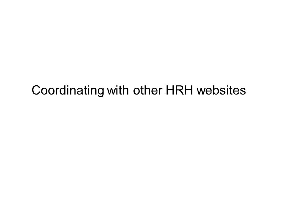 Support for HRD training in HRH