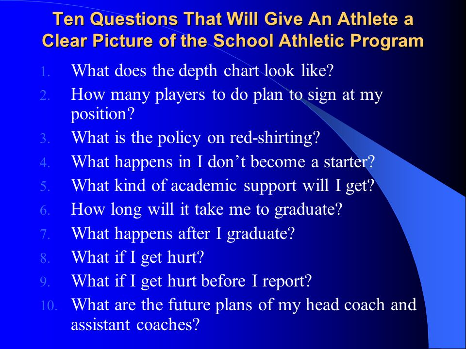 Ten Questions That Will Give An Athlete a Clear Picture of the School Athletic Program 1.