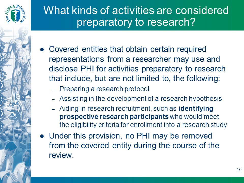 10 What kinds of activities are considered preparatory to research.