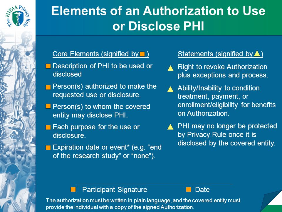 Core Elements (signified by ) Description of PHI to be used or disclosed Person(s) authorized to make the requested use or disclosure.