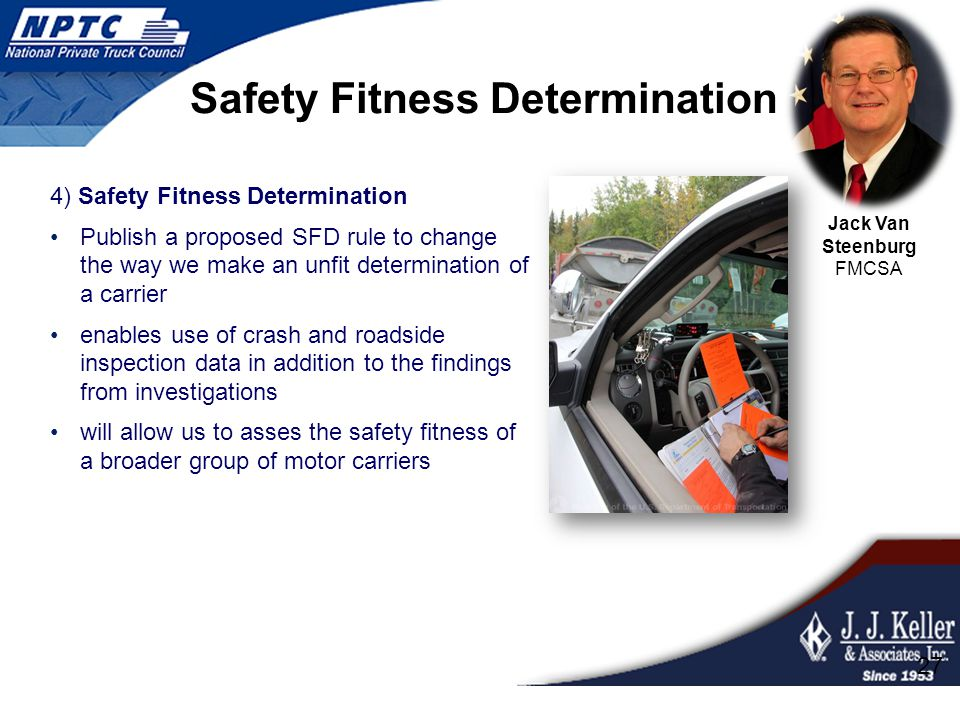 Safety Fitness Determination 4) Safety Fitness Determination Publish a proposed SFD rule to change the way we make an unfit determination of a carrier