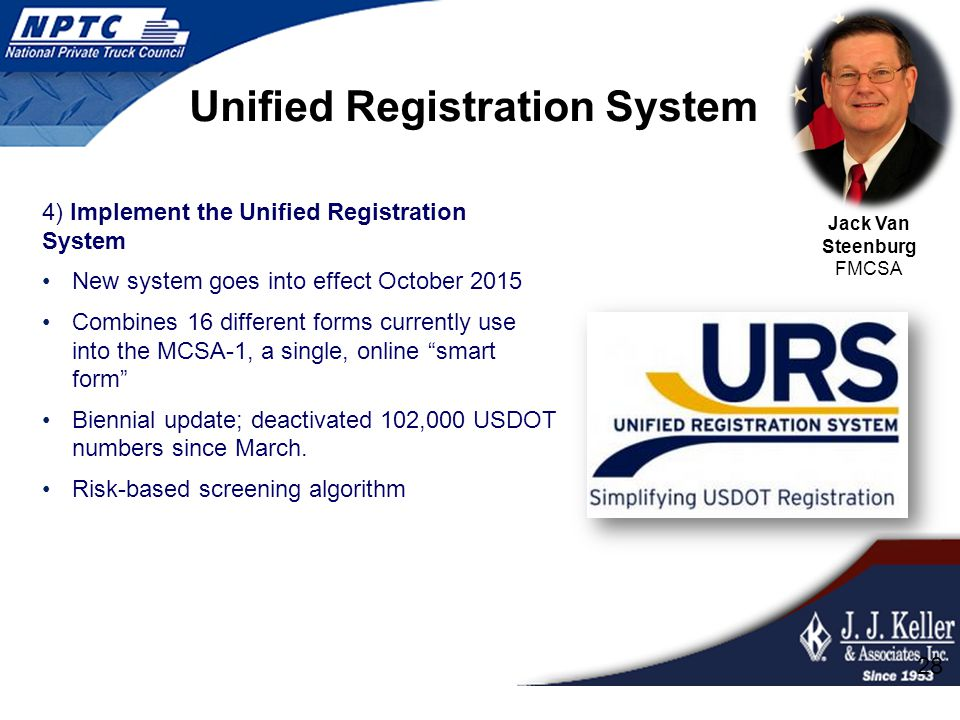 Unified Registration System 4) Implement the Unified Registration System New system goes into effect October 2015 Combines 16 different forms currentl