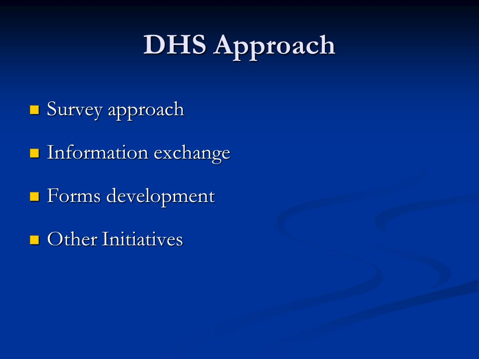 DHS Approach Survey approach Survey approach Information exchange Information exchange Forms development Forms development Other Initiatives Other Initiatives