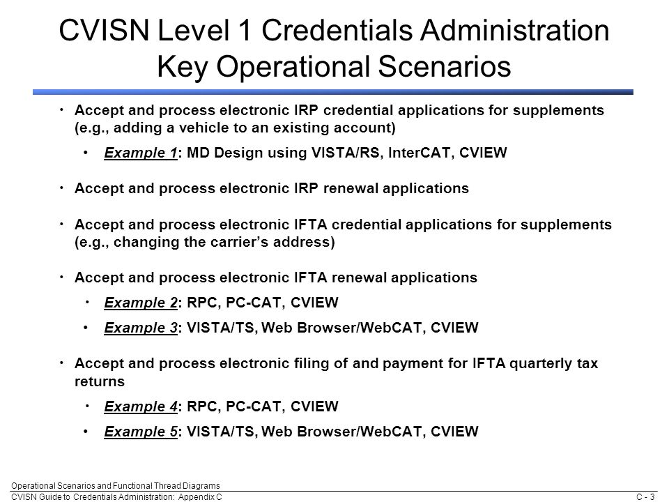CVISN Guide to Credentials Administration: Appendix C Operational Scenarios and Functional Thread Diagrams C - 3 CVISN Level 1 Credentials Administration Key Operational Scenarios Accept and process electronic IRP credential applications for supplements (e.g., adding a vehicle to an existing account) Example 1: MD Design using VISTA/RS, InterCAT, CVIEW Accept and process electronic IRP renewal applications Accept and process electronic IFTA credential applications for supplements (e.g., changing the carrier's address) Accept and process electronic IFTA renewal applications Example 2: RPC, PC-CAT, CVIEW Example 3: VISTA/TS, Web Browser/WebCAT, CVIEW Accept and process electronic filing of and payment for IFTA quarterly tax returns Example 4: RPC, PC-CAT, CVIEW Example 5: VISTA/TS, Web Browser/WebCAT, CVIEW