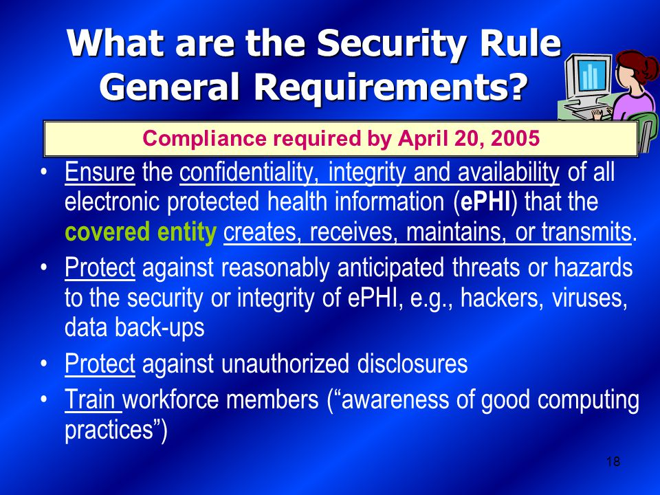18 What are the Security Rule General Requirements.