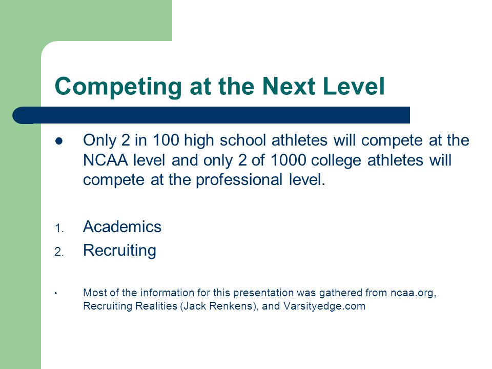 Competing at the Next Level Matt Barber School Counselor NCAA Eligibility Coordinator