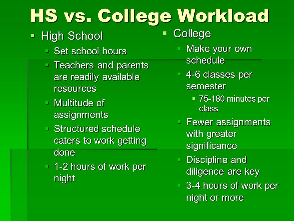 HS vs. College Workload  High School  Set school hours  Teachers and parents are readily available resources  Multitude of assignments  Structure
