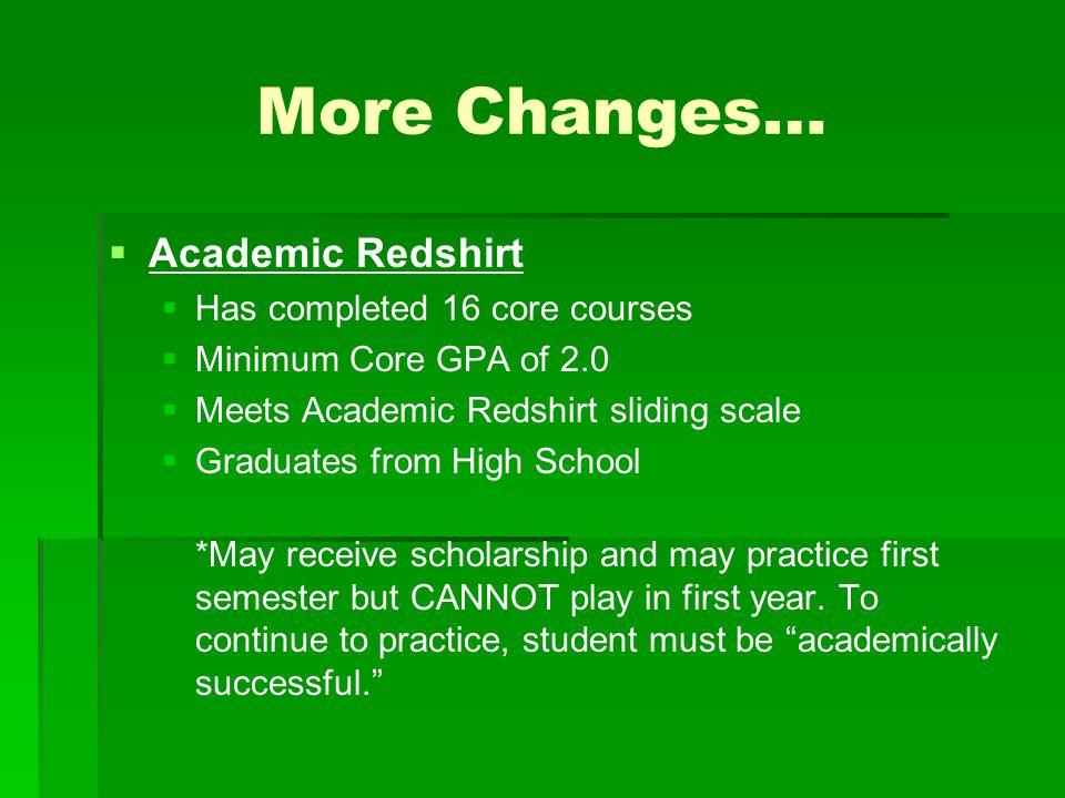 More Changes…   Academic Redshirt   Has completed 16 core courses   Minimum Core GPA of 2.0   Meets Academic Redshirt sliding scale   Gradua