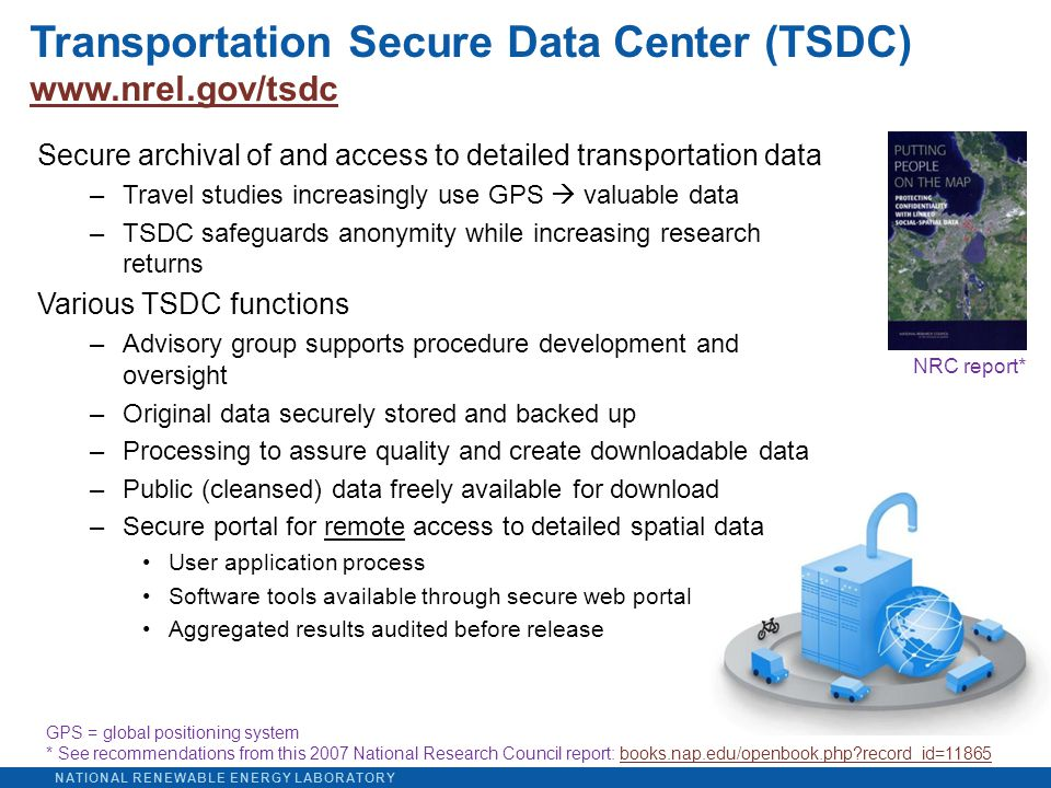 NATIONAL RENEWABLE ENERGY LABORATORY Transportation Secure Data Center (TSDC) www.nrel.gov/tsdc www.nrel.gov/tsdc Secure archival of and access to detailed transportation data –Travel studies increasingly use GPS  valuable data –TSDC safeguards anonymity while increasing research returns Various TSDC functions –Advisory group supports procedure development and oversight –Original data securely stored and backed up –Processing to assure quality and create downloadable data –Public (cleansed) data freely available for download –Secure portal for remote access to detailed spatial data User application process Software tools available through secure web portal Aggregated results audited before release NRC report* GPS = global positioning system * See recommendations from this 2007 National Research Council report: books.nap.edu/openbook.php record_id=11865books.nap.edu/openbook.php record_id=11865