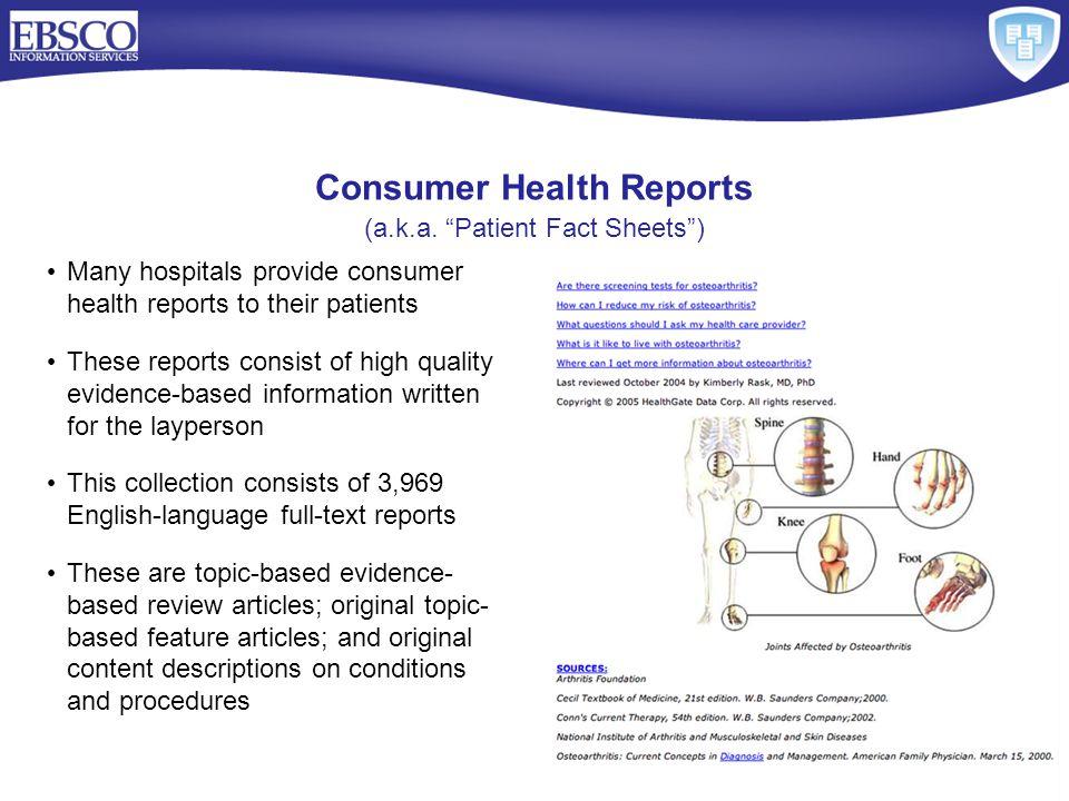 Consumer Health Reports (a.k.a.