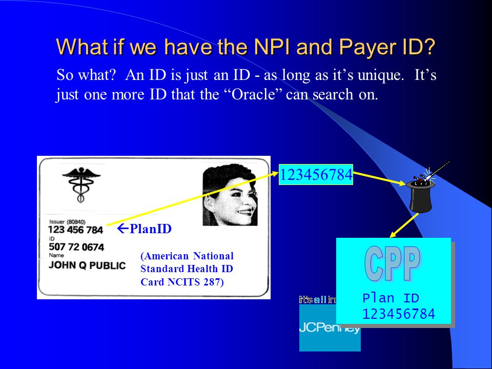 What if we have the NPI and Payer ID. So what. An ID is just an ID - as long as it's unique.